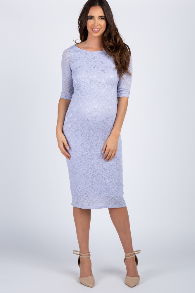90fba4a787 Lavender Lace Maternity Dress