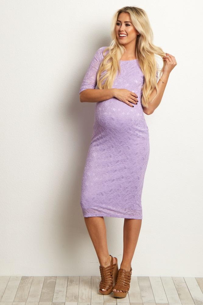 5f2c16d67d90b Purple Fitted Lace Maternity Dress