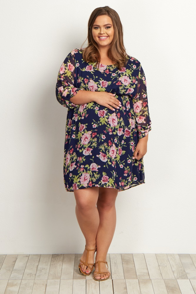 9f12246036edf Navy Blue Floral Chiffon Plus Maternity Dress
