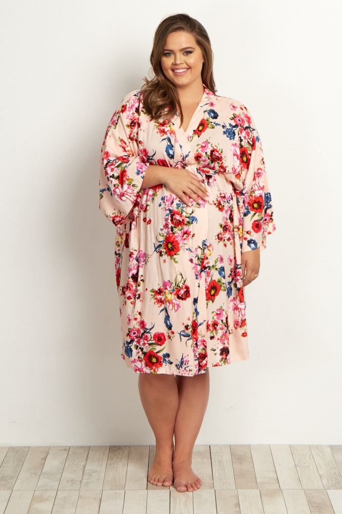 945248943fe Light Pink Floral Delivery Nursing Plus Maternity Robe