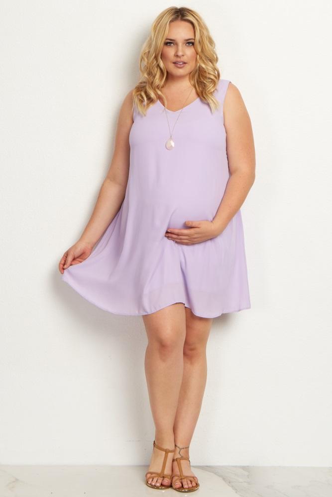 Lavender Basic Chiffon Plus Maternity Dress