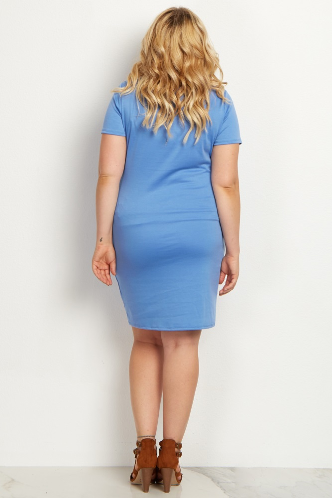 1c626b15815d2 Periwinkle Short Sleeve Fitted Plus Size Maternity Dress