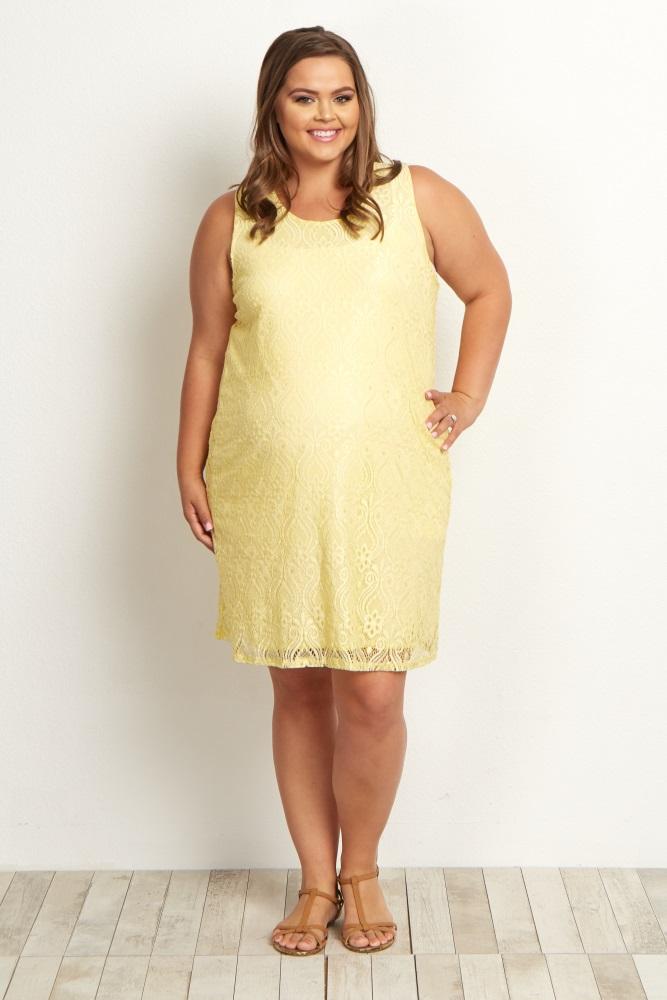 Yellow Sleeveless Lace Plus Size Maternity Dress