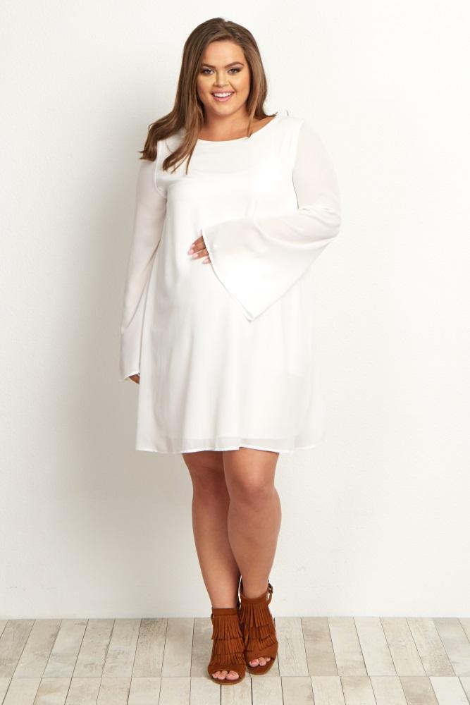 White Chiffon Bell Sleeve Plus Maternity Dress