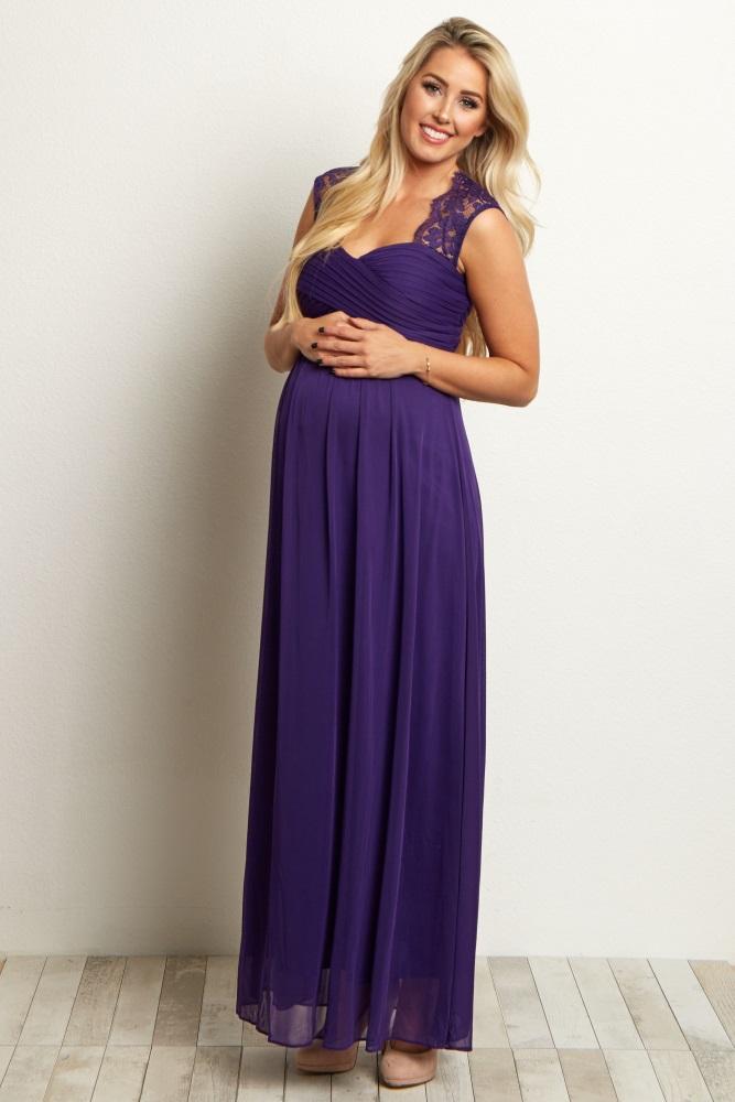 e4479d55488 Purple Lace Accent Chiffon Maternity Evening Gown