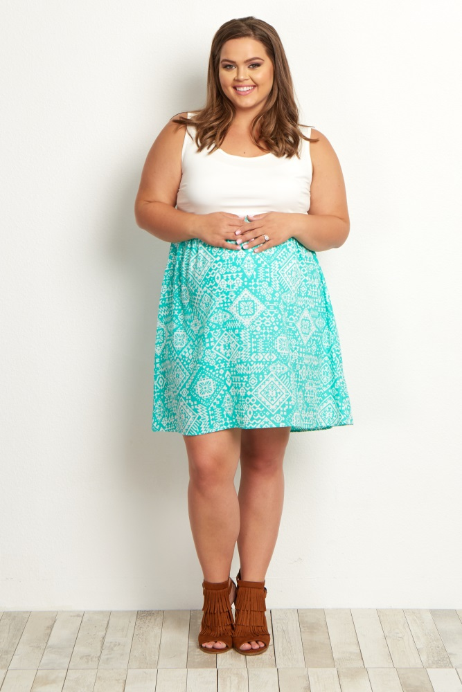 Mint Green Tribal Bottom Plus Size Maternity Dress