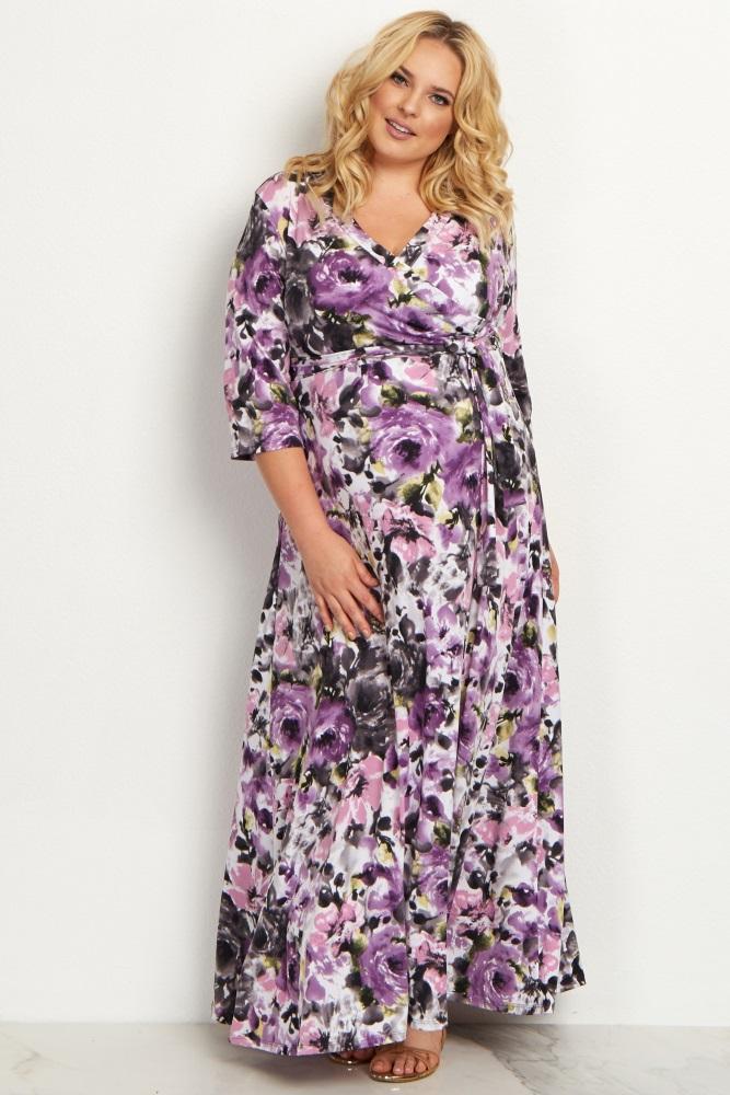 Lavender Watercolor Floral Draped Plus Size Maternity Maxi Dress