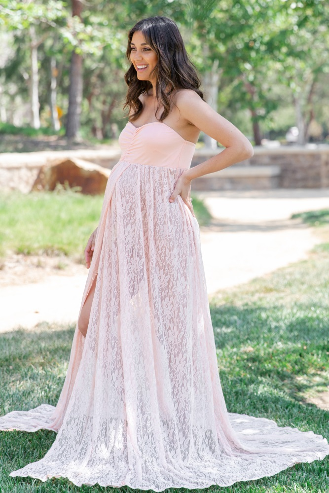 64831535689 Pink Strapless Lace Maternity Photoshoot Gown Dress