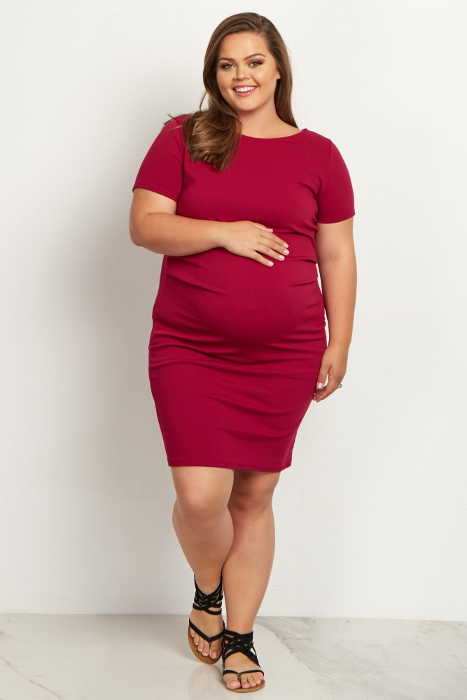 935f84c1c0f Magenta Fitted Plus Size Maternity Dress