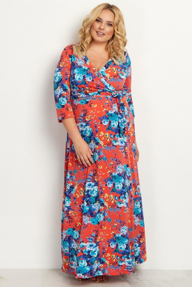 198da73bd1 Red Floral Draped 3 4 Sleeve Plus Maternity Maxi Dress