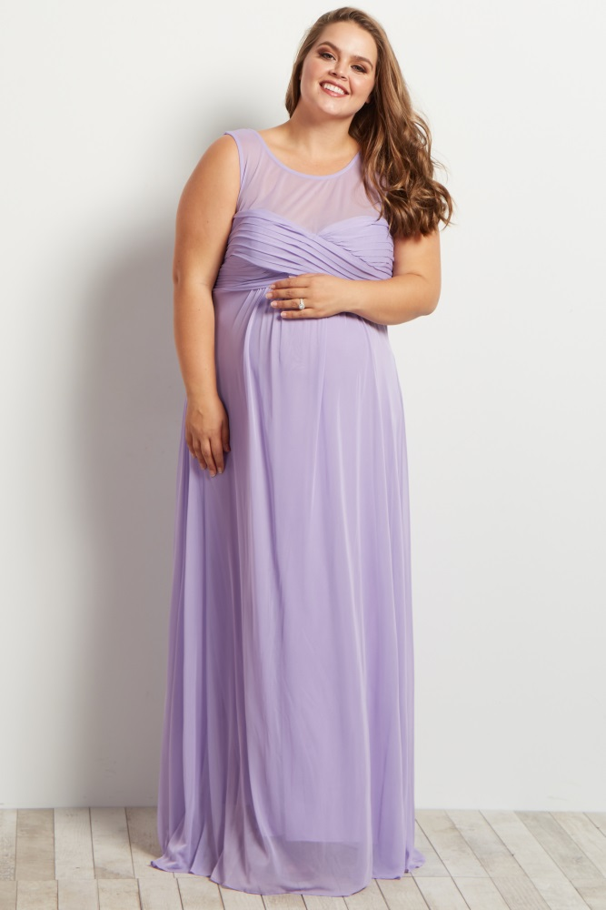 Lavender Mesh Neckline Ruched Bust Plus Size Maternity Evening Gown