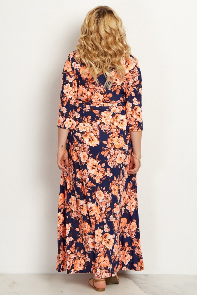 4127708908 Orange Floral Draped Plus Size Maternity Maxi Dress