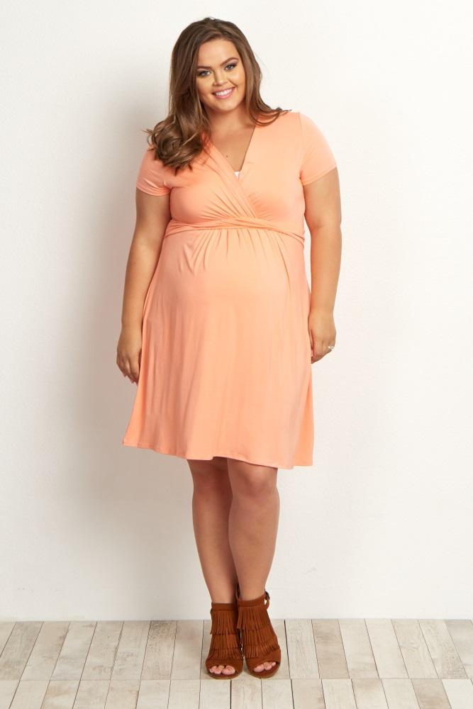 Peach Draped Front Plus Nursing Dress