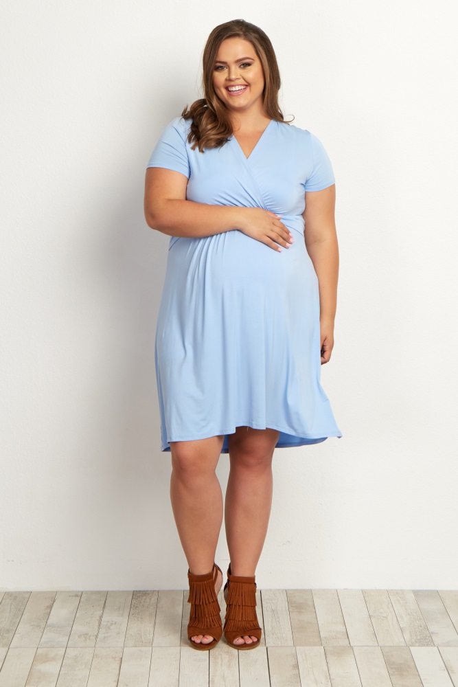 Navy Blue Draped Front Plus Maternity/Nursing Dress