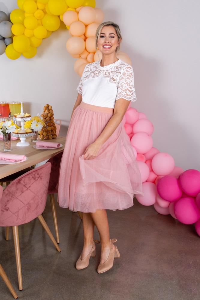 94ec05cef6279 Pink Tulle Mesh Midi Maternity Skirt
