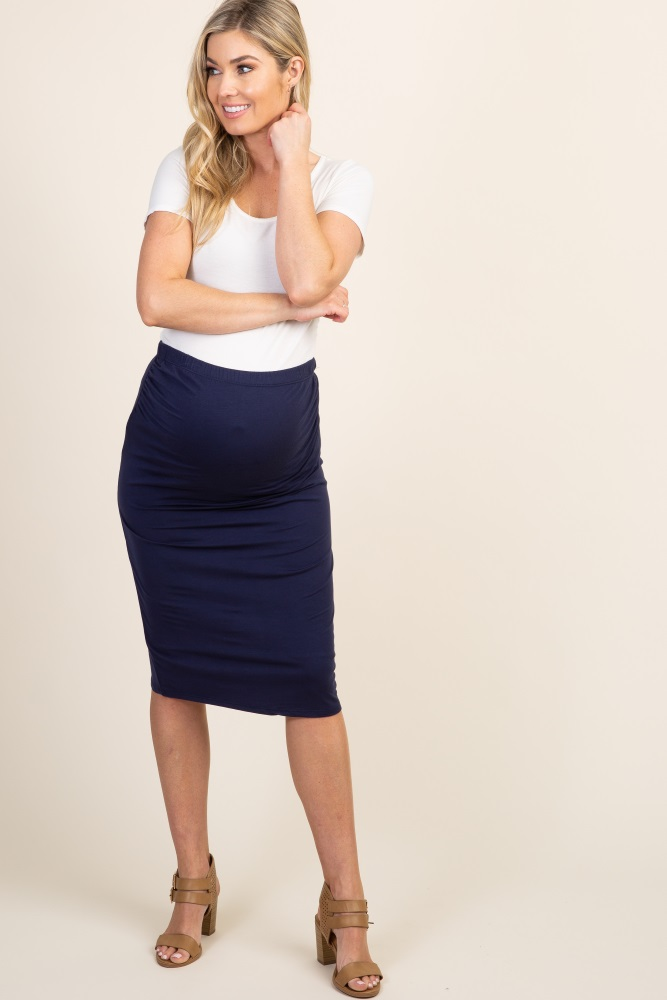 unparalleled professional website 100% authentic Navy Blue Fitted Maternity Pencil Skirt