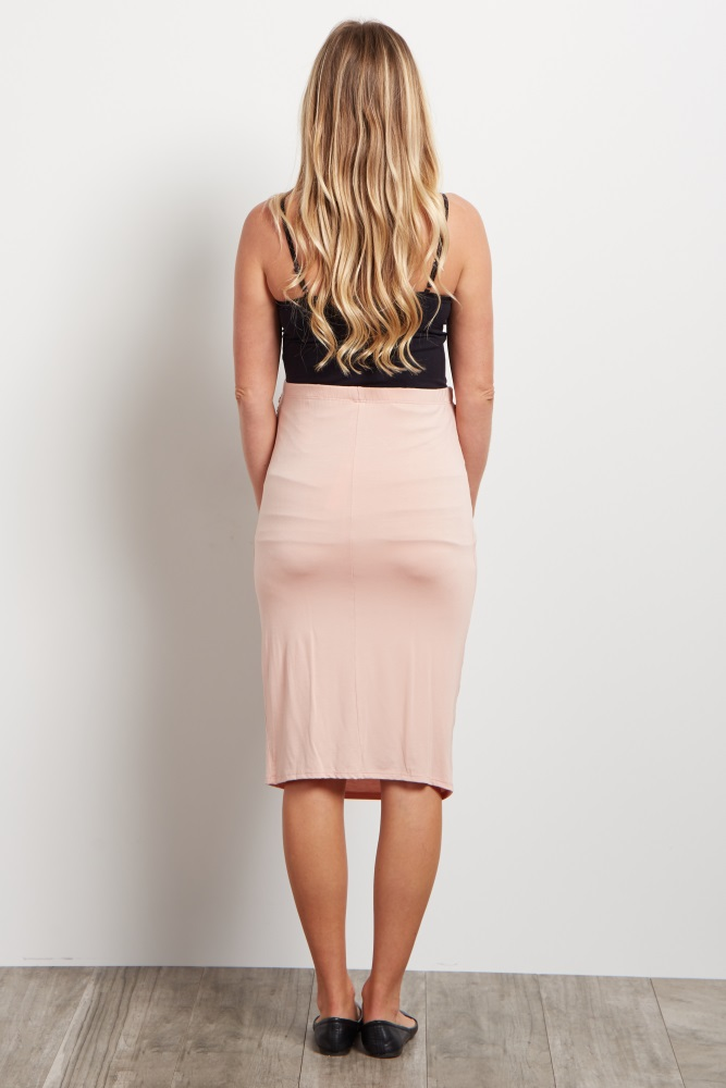 283e27603fe Light Pink Fitted Maternity Pencil Skirt