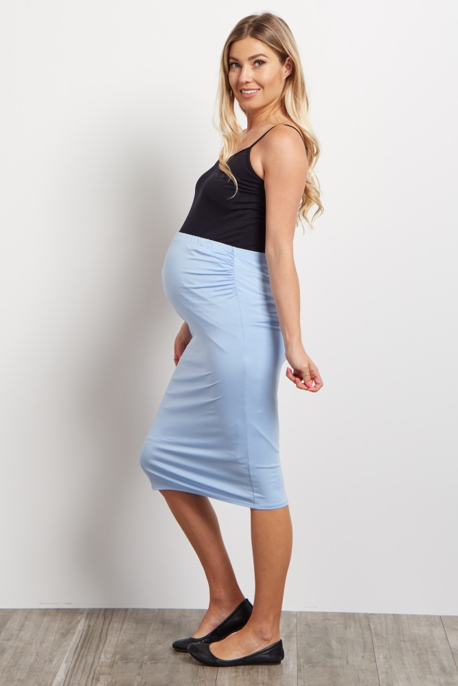 4376211654 Light Blue Fitted Maternity Pencil Skirt