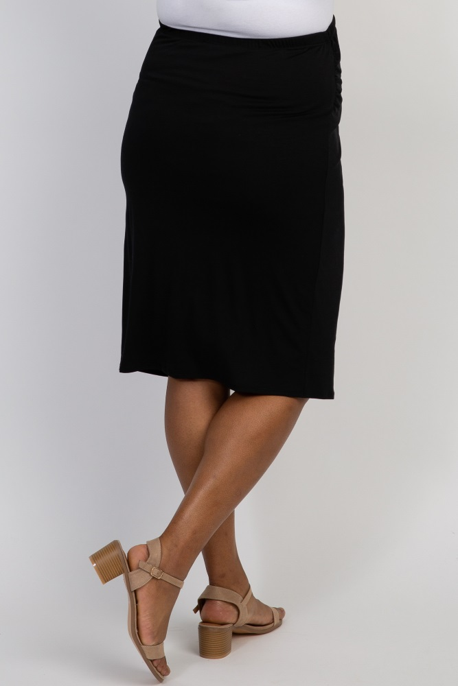 d32eb45c18cb3 Black Fitted Plus Maternity Pencil Skirt