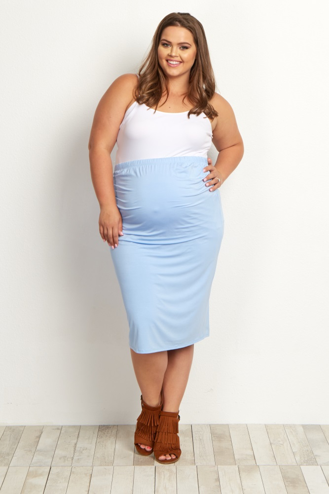 0613375454 Light Blue Fitted Plus Size Maternity Pencil Skirt