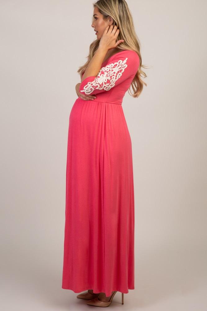 c96eb3c8a8335 Coral Crochet Sleeve Maternity Maxi Dress