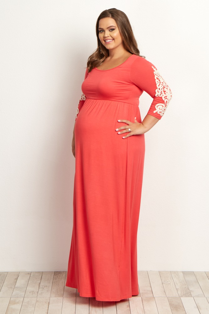 Coral Crochet Sleeve Plus Maternity Maxi Dress