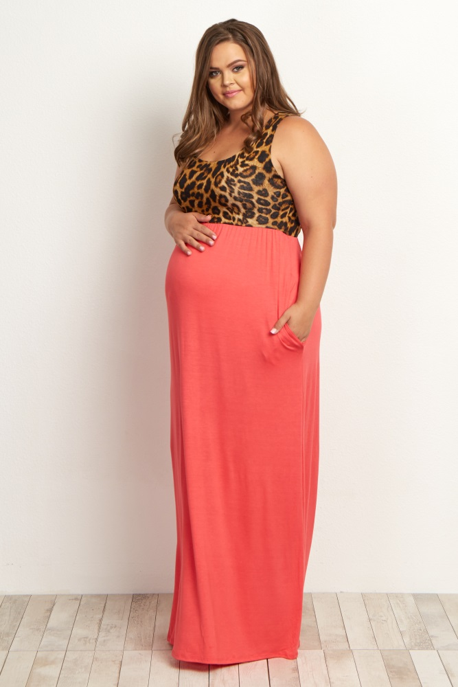 915d54fbe0 Coral Cheetah Plus Size Maternity Maxi Dress