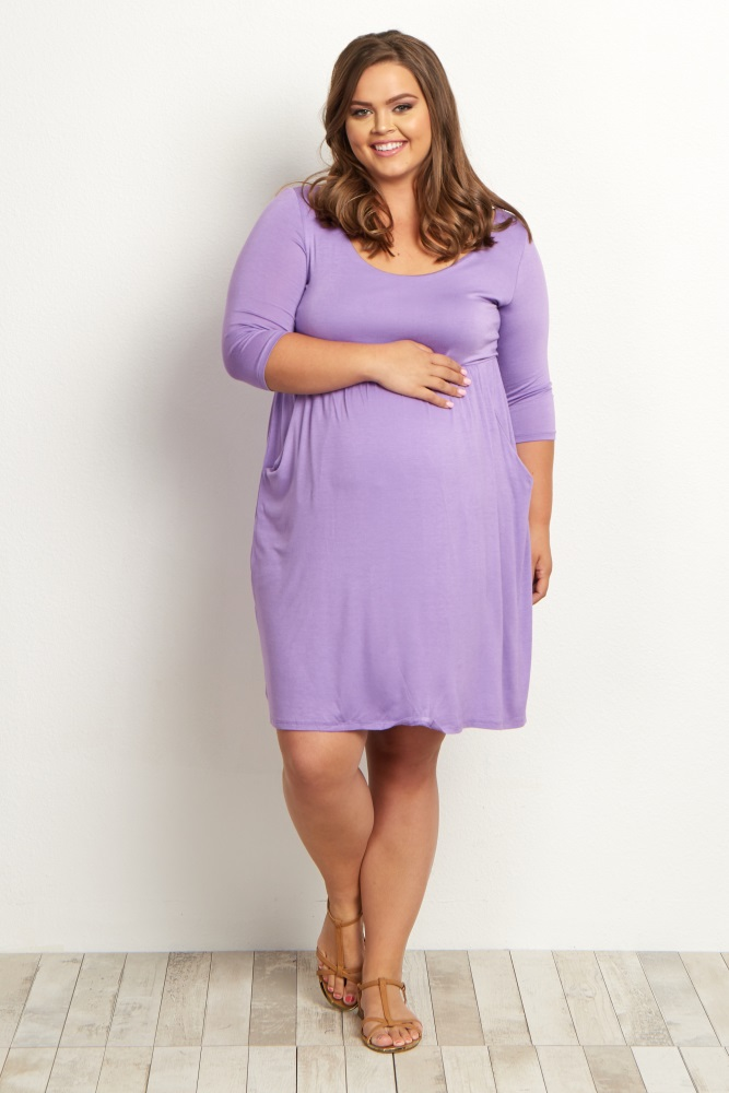 Purple 3/4 Sleeve Plus Size Maternity Dress