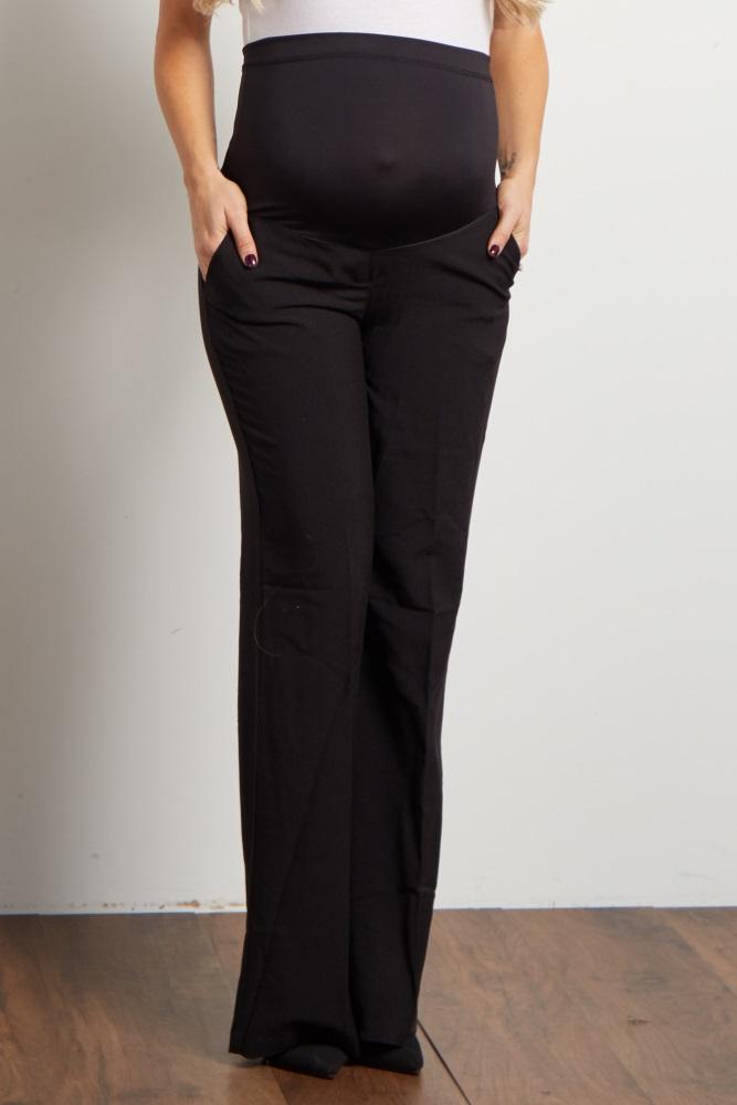 b2ad534bd320e Black Flared Maternity Dress Pants