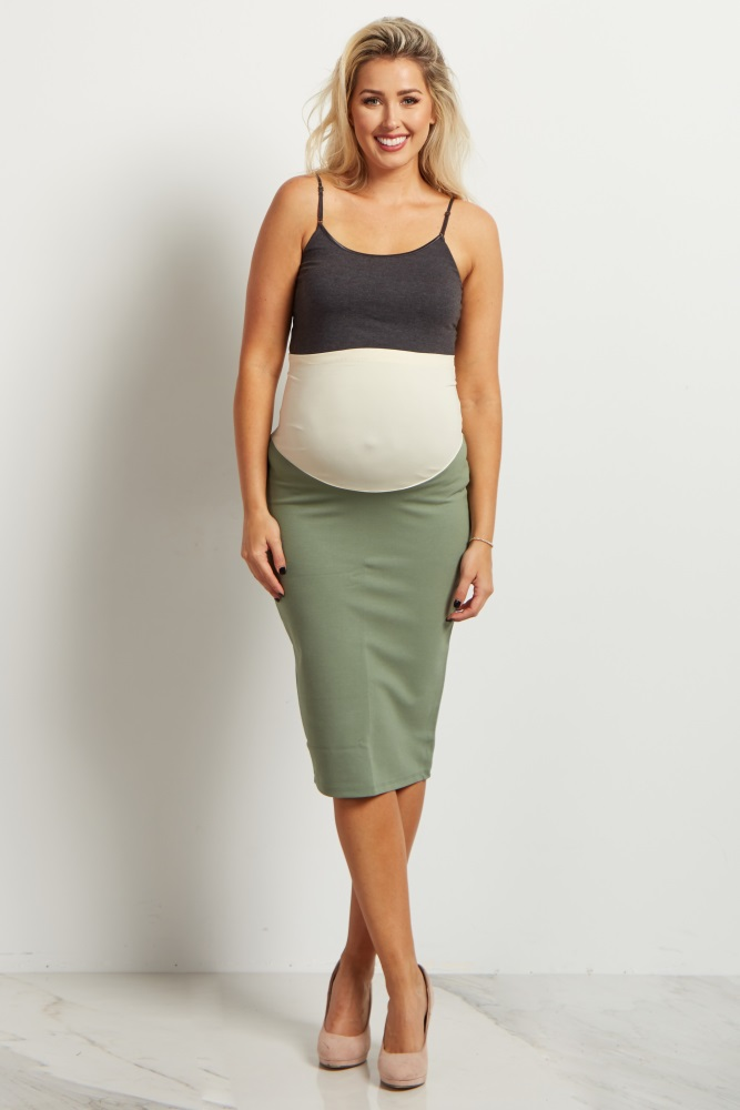 a81ba8c1e3844 Light Olive Fitted Maternity Pencil Skirt