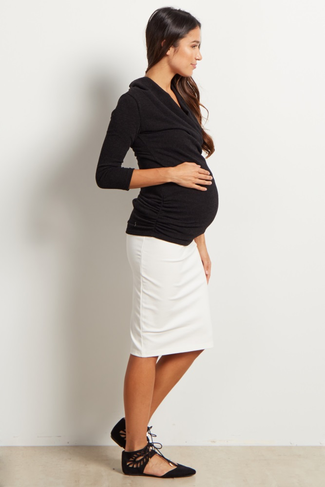 22278ee9bfc Ivory Fitted Maternity Pencil Skirt