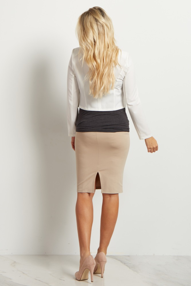 a4b21701977 Beige Fitted Maternity Pencil Skirt