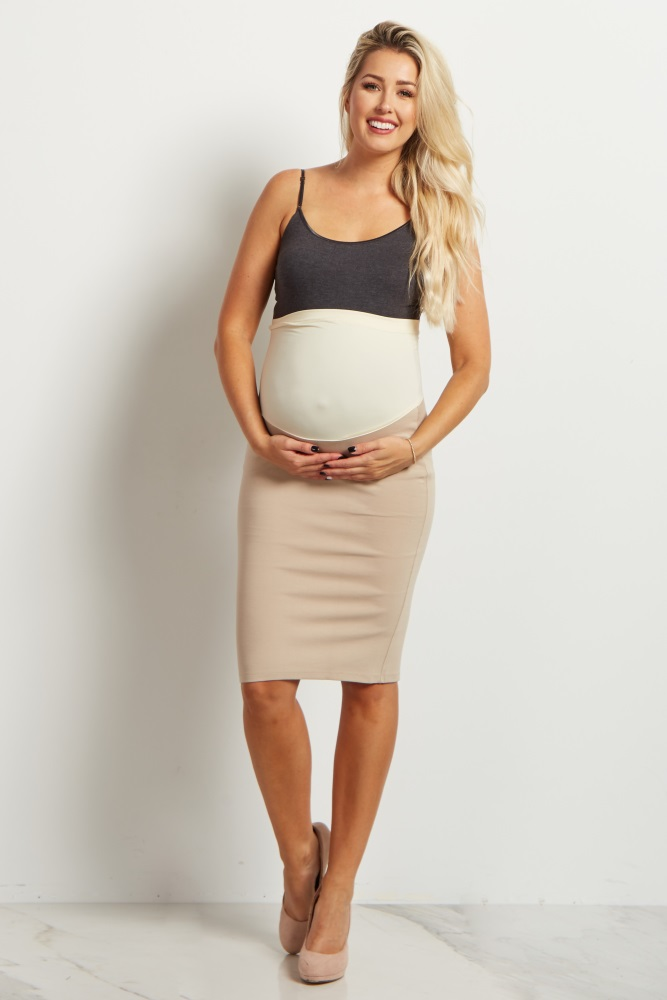 24d1434568b43 Beige Fitted Maternity Pencil Skirt