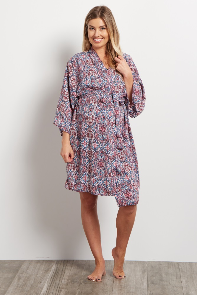 2281a6ea74b Purple Abstract Delivery Nursing Maternity Robe