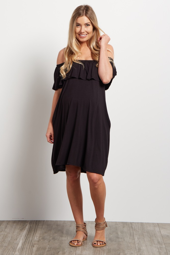 12d5722bcdd82 Black Off Shoulder Maternity Dress