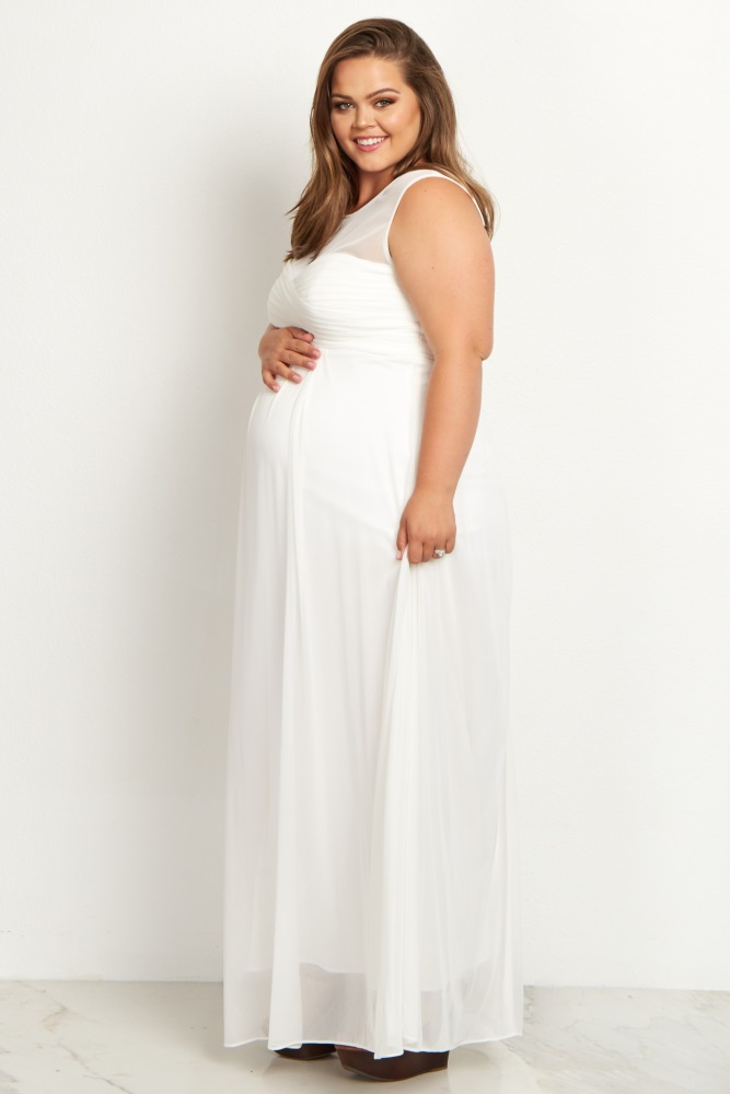 6411f652f828a White Mesh Neckline Ruched Bust Plus Size Maternity Evening Gown