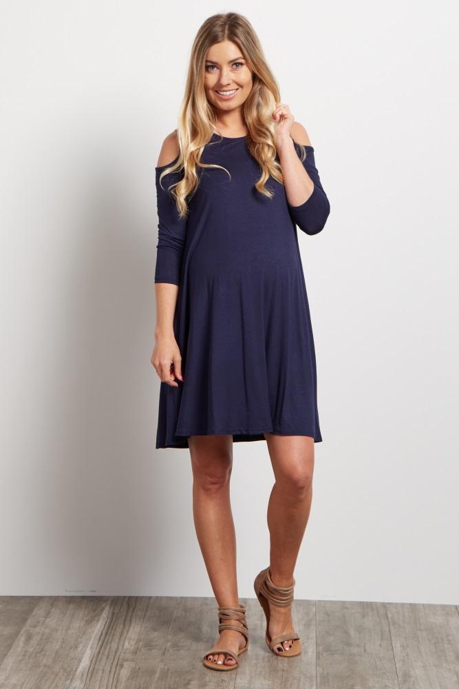 0ad5aae15187c Navy Cold Shoulder Maternity Dress