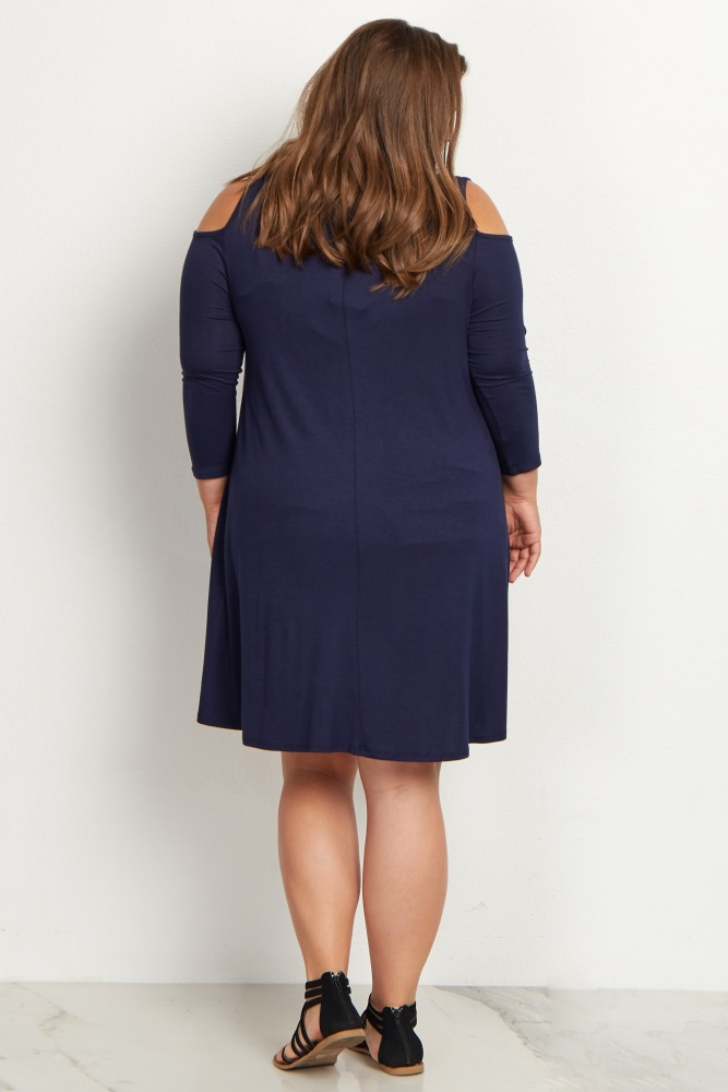 83e39c2aaf Navy Blue Cold Shoulder Plus Size Maternity Dress