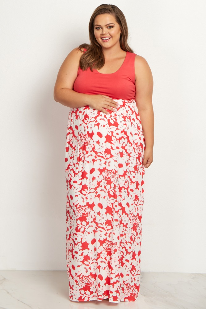 Coral Floral Bottom Plus Size Maxi Dress
