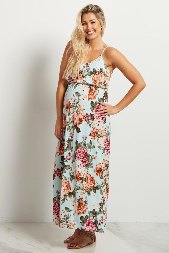 ab360df88b Mint Green Floral Maternity Maxi Dress