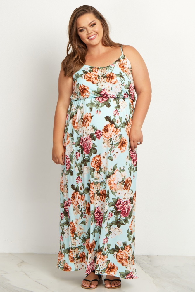 Mint Green Floral Plus Size Maternity Maxi Dress