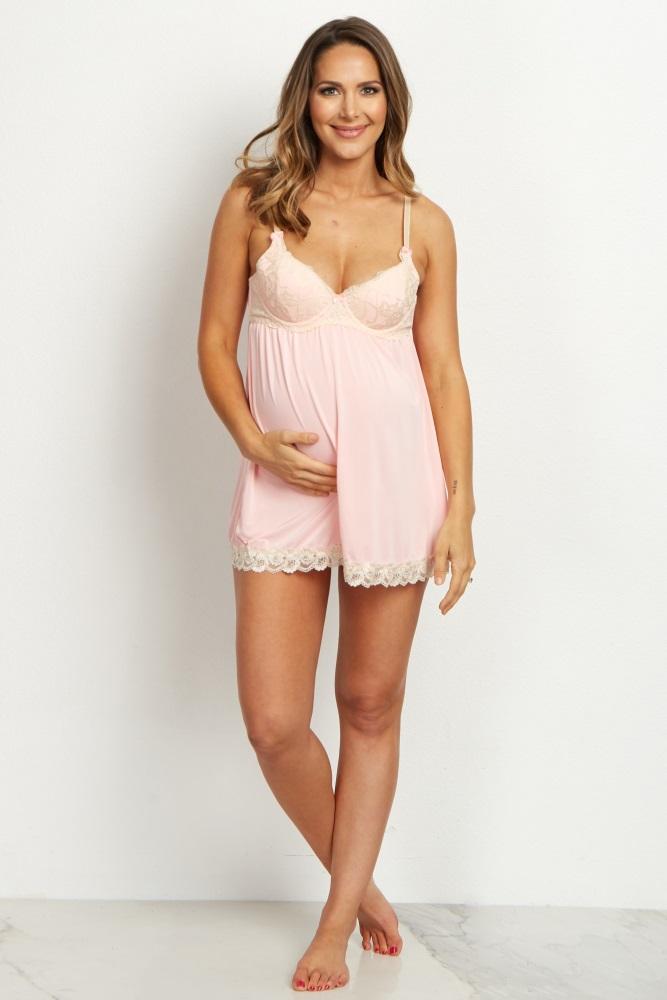 65cff1e1051 Pink Lace Maternity Lingerie Set