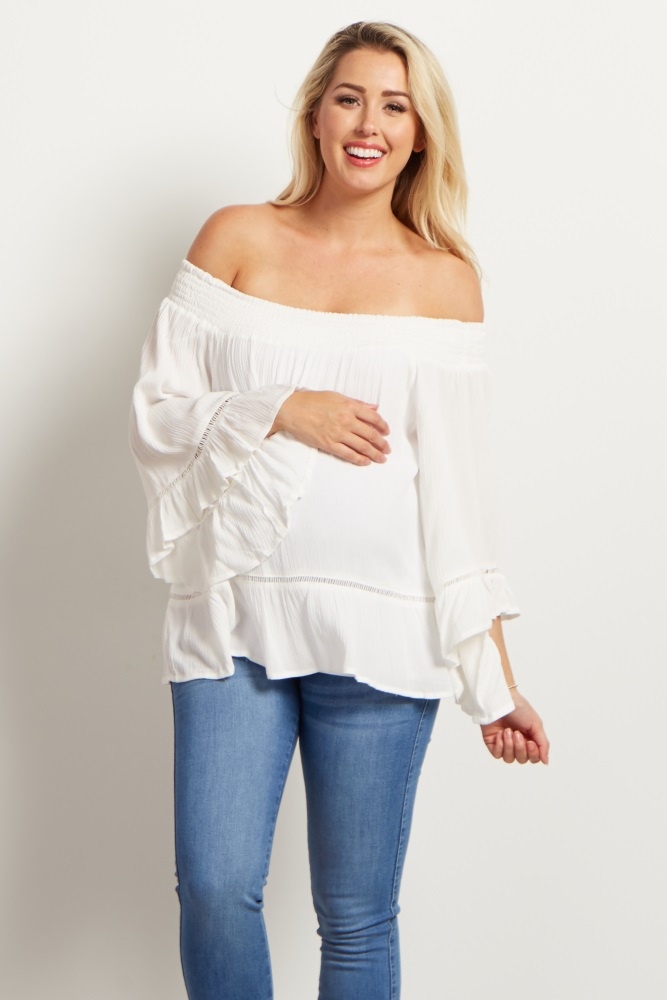 420b551937b White Bell Sleeve Off Shoulder Maternity Top