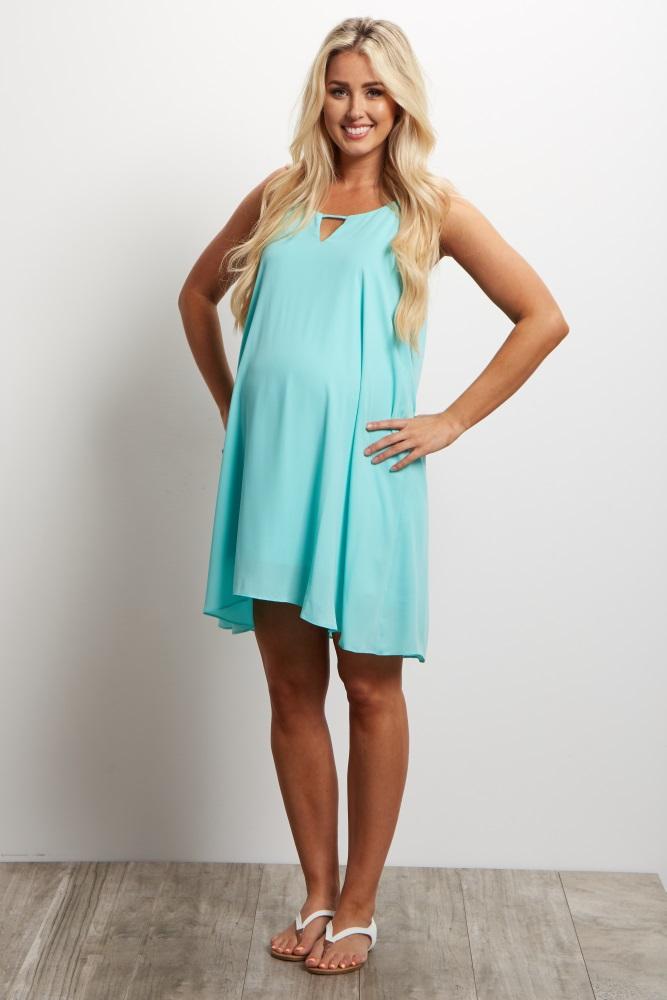 d832b5bd89b2 Mint Green Chiffon Cutout Maternity Mini Dress