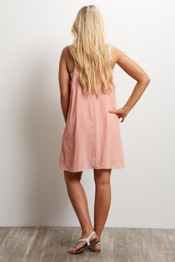 3dca471b48c Light Pink Chiffon Cutout Maternity Mini Dress