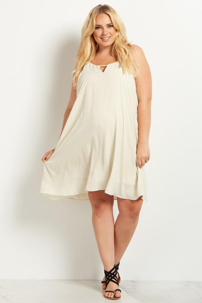 466465f9503 Beige Chiffon Cutout Plus Size Maternity Mini Dress