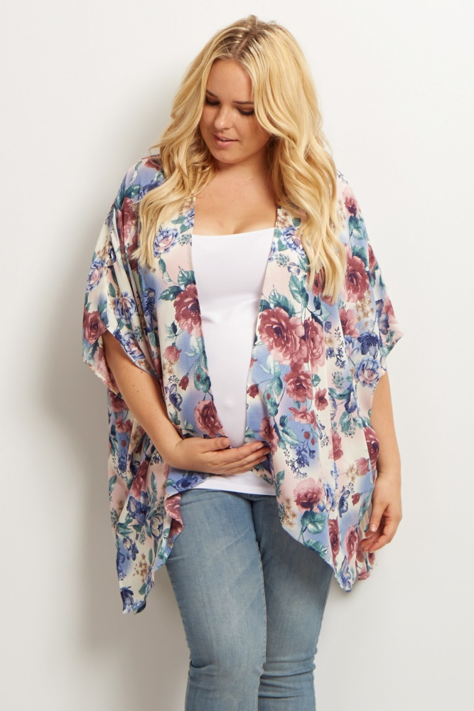 2ecfb97d204 Mauve Floral Plus Size Maternity Kimono