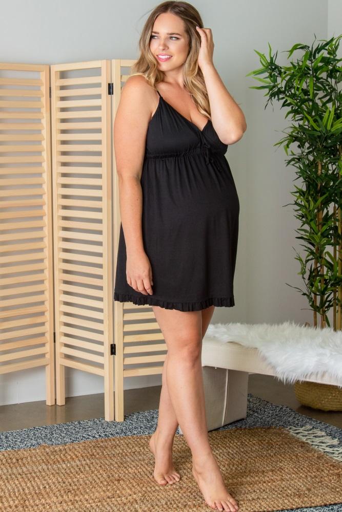 e99c866a40 Black Ruffled Trim Maternity Plus Sleep Dress