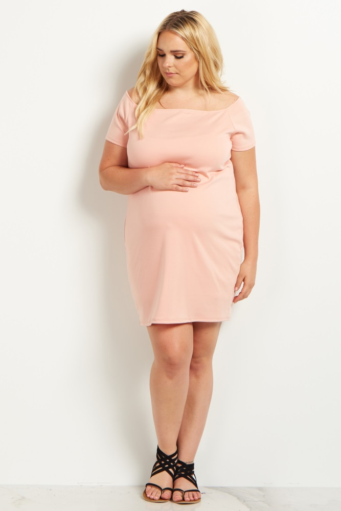 fe067d2cceb Pink Off the Shoulder Plus Size Maternity Dress
