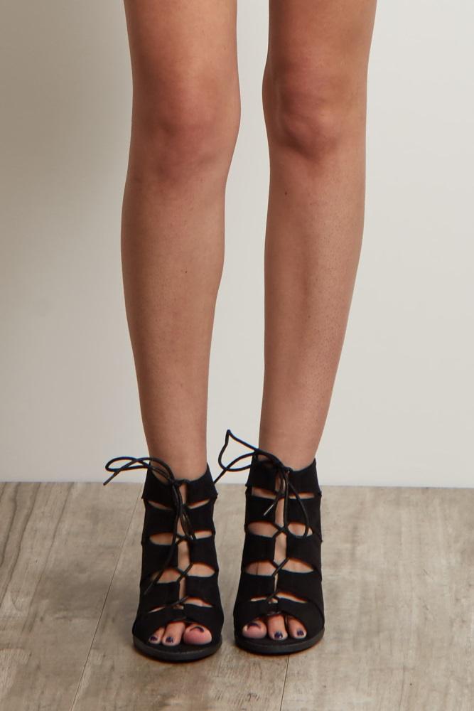 62986783c3539 Black Cutout Lace Up Heel